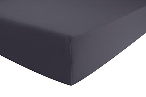 Jersey-Luxus-Spannbettlaken für Wasser- und Boxspringbett | viele Farben | in Grau (Anthrazit) aus gekämmter Baumwolle. Spannbetttuch mit Einlaufschutz, 180 x 200 - 200 x 220 cm, bis 40 cm hoher Steg | ENTSPANNO