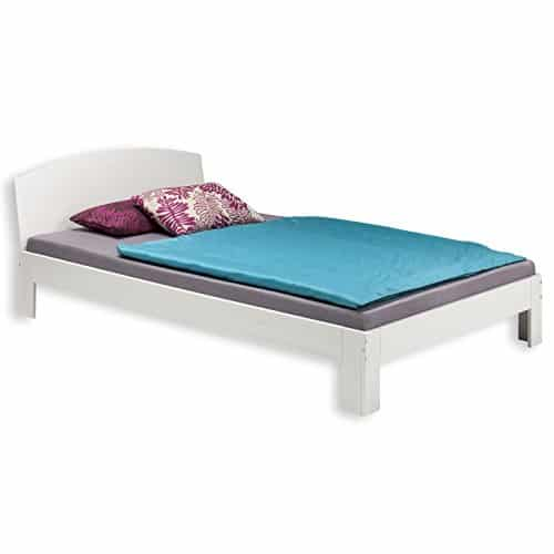 holzbett einzelbett bett tim kiefer massiv weiss lackiert 90 x 200 cm b x l. Black Bedroom Furniture Sets. Home Design Ideas