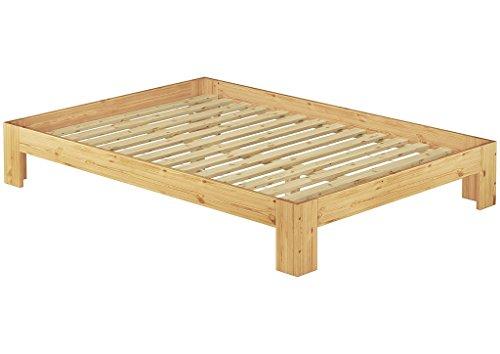 Französisches Bett 140 x 200 cm Kiefer massiv mit Rollrost