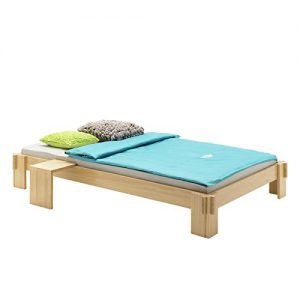 Futonbett Jugendbett Bett LUIS Kiefer massiv buchefarben lackiert 90 x 200 cm (B x L)