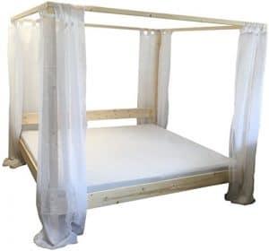 Himmelbett Bett Holz massiv Doppelbett 90 100 120 140 160 180 200 x 200cm mit Vorhängen, Hergestellt in BRD, Holzbett (200cm x 200cm)