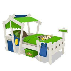 Wickeydream CrAzY Candy Kinderbett Jugendbett 90x200cm (BLAU / APFELGRÜN mit Lattenboden + weisse Farbe)