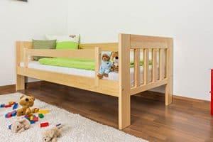 Juniorbett / Kinderbett Kiefer massiv Vollholz natur 95, Abmessung 90 x 200 cm, inkl. Lattenrost