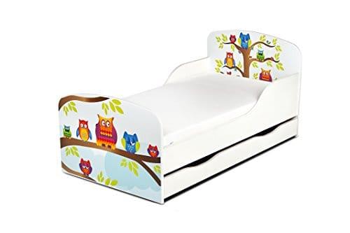 Leomark KINDERBETT 140x70 mit Schublade Funktionsbett Einzelbett mit Matratze Motiv: Eulen Sehr Einfache Montage