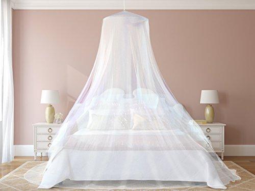 Das beste Moskitonetz von NATURO - Das größte Doppelbett Moskitonetz Baldachin - Insekten Malaria Schutz - Gratis Boni: 2 Insektenschutz Armbänder, ein Aufhängekit & Tragetasche