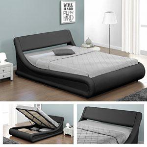 KANSAS Doppelbett Polsterbett mit Gasdruckfeder Bettkasten Bett Lattenrost Kunstleder (160 x 200cm, Schwarz)