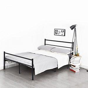 Aingoo Doppelbett Metallbett mit Lattenrost Bettgestell Tagesbett Ehebett Jugendbett schwarz 190x130cm