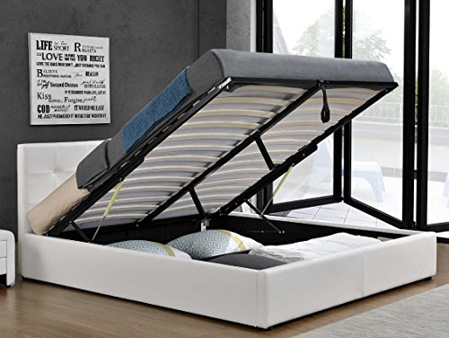 Doppelbett Bettkasten Klappbett Polsterbett Bettgestell Bett Lattenrost Kunstleder (180x200cm, Weiß)