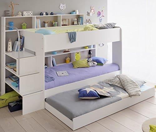 Kinder Etagenbett Weiß/grau mit Bettkasten Treppe und Geländer - 90x200