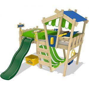 WICKEY Kinderbett CrAzY Hutty Hochbett Abenteuerbett - Blau-Apfelgrün + grüne Rutsche
