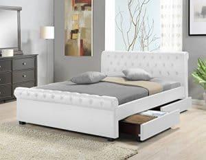 Doppelbett Polsterbett Bettgestell Bett Lattenrost Kunstleder (Weiß, 180x200cm)