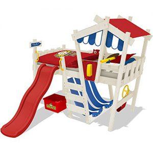 WICKEY Kinderbett CrAzY Hutty Hochbett Abenteuerbett - Rot-Blau + rote Rutsche + weiße Farbe