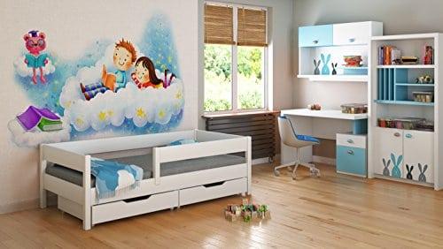 Jugendbett Kinderbett Funktionsbett Holz 160x80 2 Schubladen Lattenrost 4 Farben