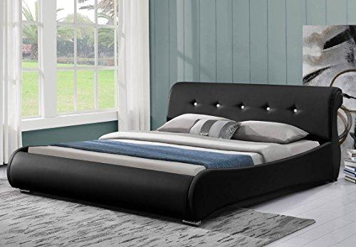 Doppelbett Polsterbett Bettgestell Bett Lattenrost Kunstleder (180x200, schwarz)
